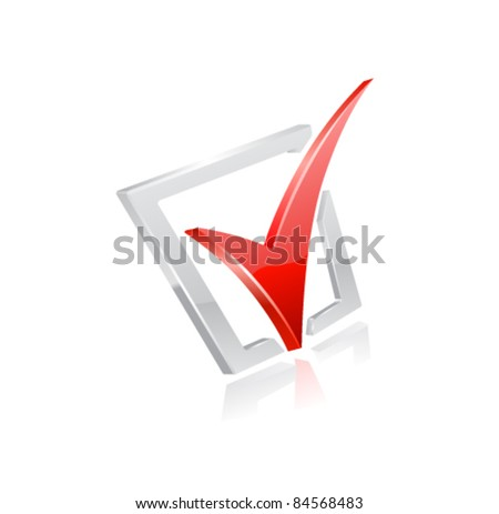 Vector red checkmark. - stock vector