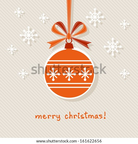 Vector red Christmas ball with ribbon and bow. Original design element. Simple festive label. Greeting, invitation cute card with lettering - Merry Christmas. Decorative illustration for print, web - stock vector