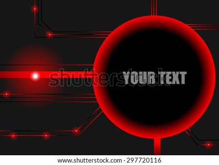 Vector : Red circuit board and space for text - stock vector