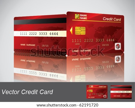 Vector Red Credit Card, front and back view - stock vector