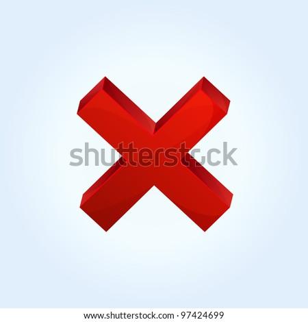 Vector red cross icon - stock vector