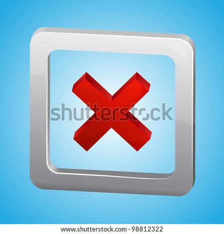 Vector red cross in metallic box on blue background - stock vector