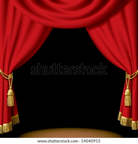 Vector red curtain on black - stock vector