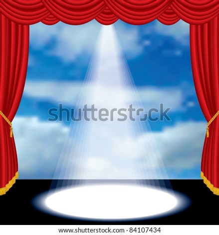 vector red curtain stage with cloudy sky - stock vector