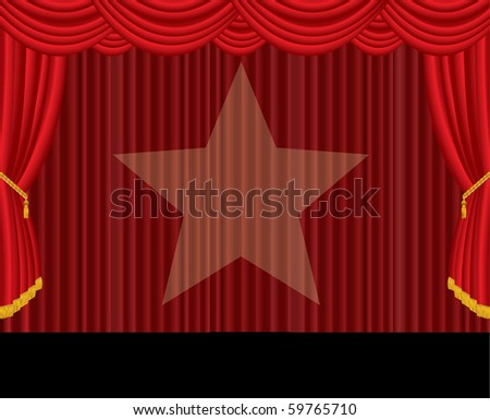 vector red curtain stage with spotlight star - stock vector