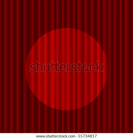 vector red curtain with spotlight - stock vector