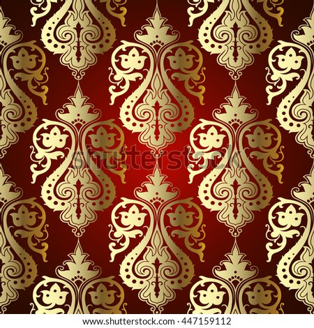 Vector red damask vintage seamless pattern background with golden Eastern ornament. Elegant royal  luxury texture and decor in victorian style for wallpapers, backgrounds and page fill.  - stock vector