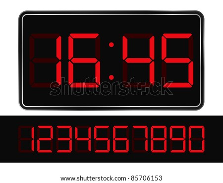 Vector Red Digital Clock - stock vector