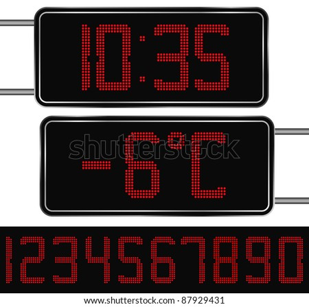 Vector Red Digital Clock and Thermometer - stock vector