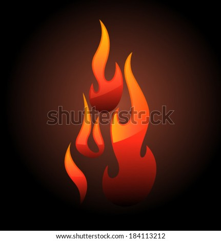 Vector red flame and glare - stock vector