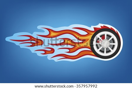 Vector red flames tuning car style on blue  - stock vector