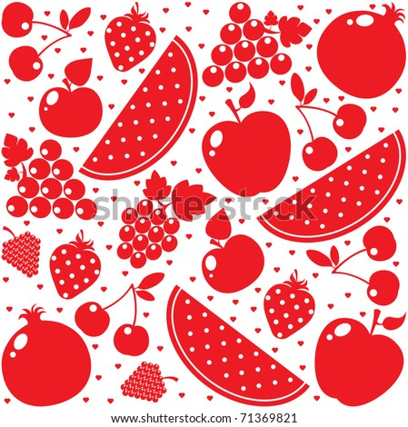 Vector red fruits background - stock vector