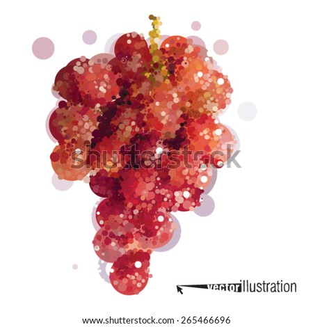 Vector red grapevine that consists of circles - stock vector