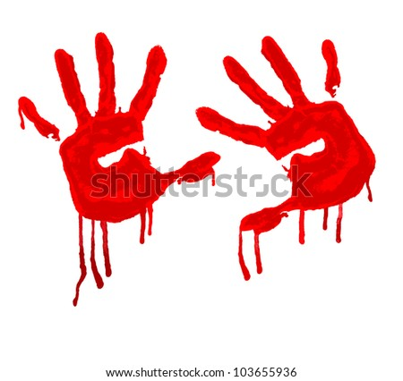 vector red hand print on white background - stock vector