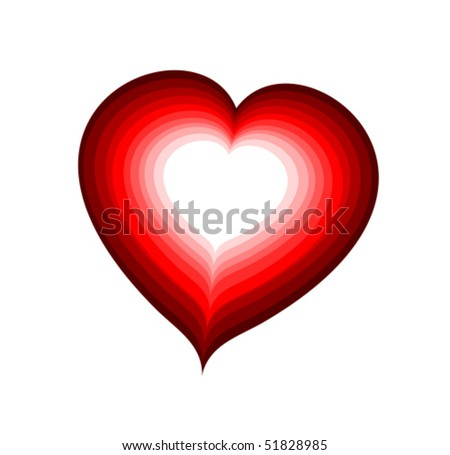 Vector red heart laminated - stock vector