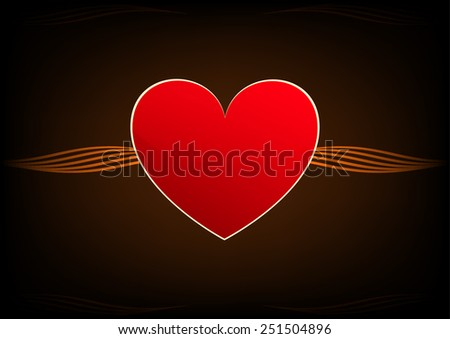 Vector Red Heart On Chocolate Background