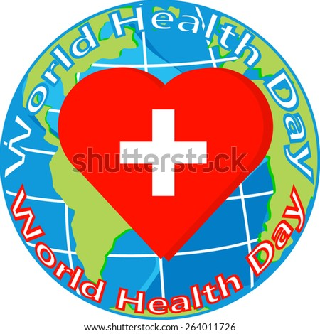 vector red heart with cross on globe for world health day - stock vector