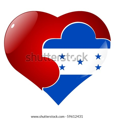 vector red heart with the national flag of Honduras on the puzzle - stock vector