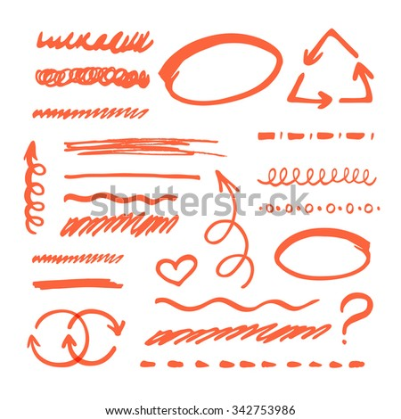 Vector red highlighter elements collection. Set of hand drawn marker elements for text selection and underline - strokes, arrows and other shapes - stock vector