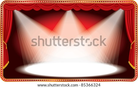 vector red horizontal stage with three white spot lights - stock vector