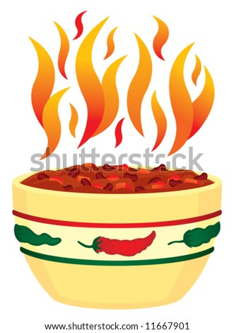 Vector Red hot chili in bowl with flames - stock vector