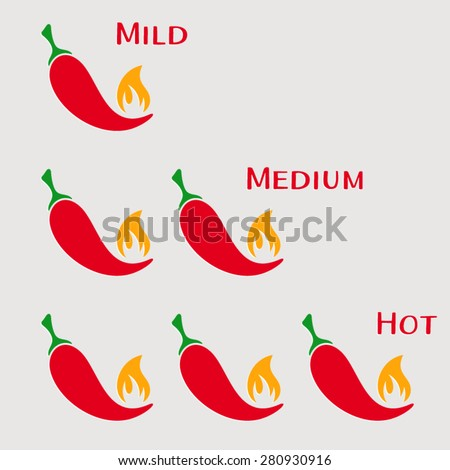 Vector red hot chilli peppers mild medium hot - stock vector