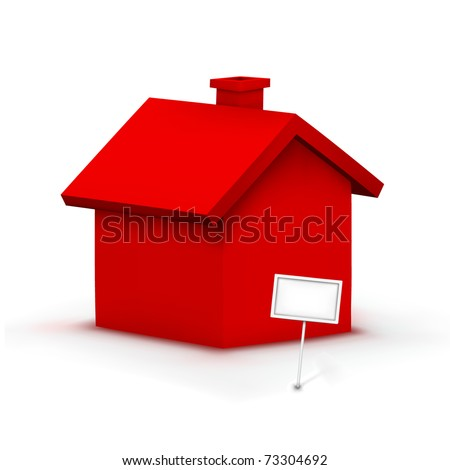vector red house - stock vector