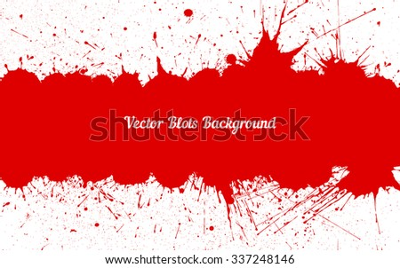 Vector red ink splashes with space for text over white. Element for your designs, projects, promotional sales and other your projects. Just add your text - stock vector