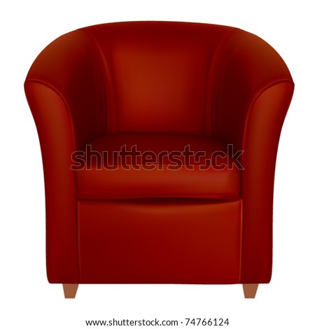 vector red leather tub chair - stock vector