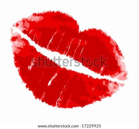 Vector Red Lipstick Kiss - stock vector