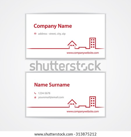 Vector red modern visiting (business) card template with icons of house, ground/land, flat/apartment. Use for real estate agency or real estate broker/agent etc. Eps 10 vector file. - stock vector