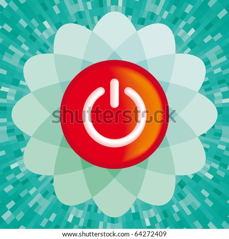 Vector red On button with green background - stock vector