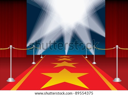 vector red opened stage with stars on red carpet - stock vector
