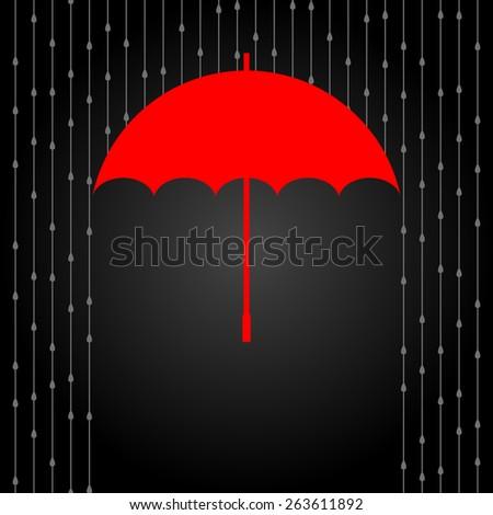 Vector red opened umbrella and rain on dark background. - stock vector