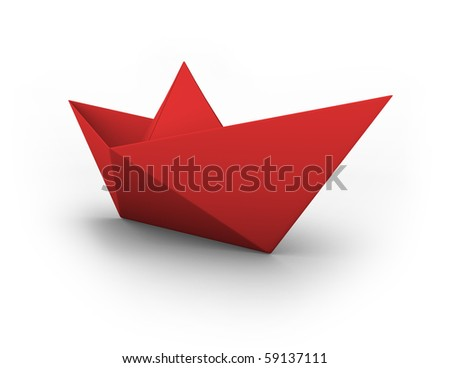 VECTOR red origami boat - stock vector