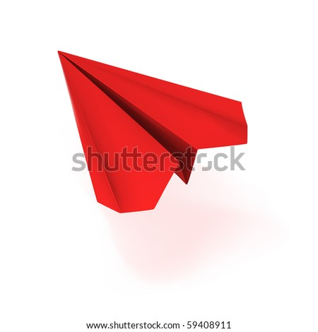vector red origami plane - stock vector