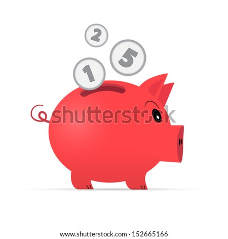 Vector Red Piggy Bank Isolated on White Background - stock vector