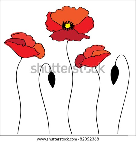 Vector red poppies - stock vector