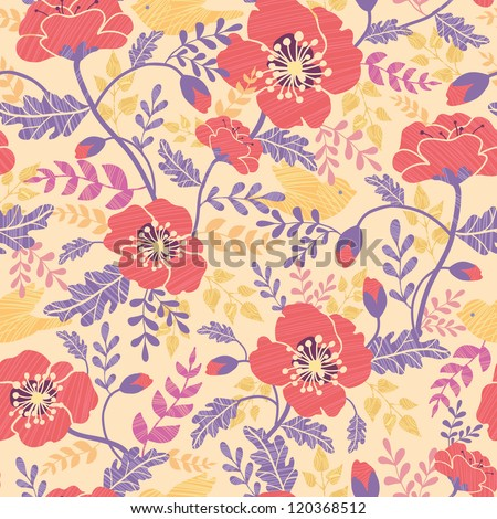Vector red poppy flowers and birds seamless pattern background with hand drawn floral elements. - stock vector