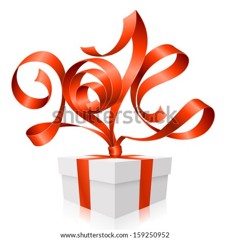 Vector red ribbon in the shape of 2014 and gift box. Symbol of New Year - stock vector