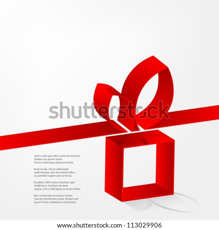 Vector red ribbon with a bow over gift box on a white background - stock vector