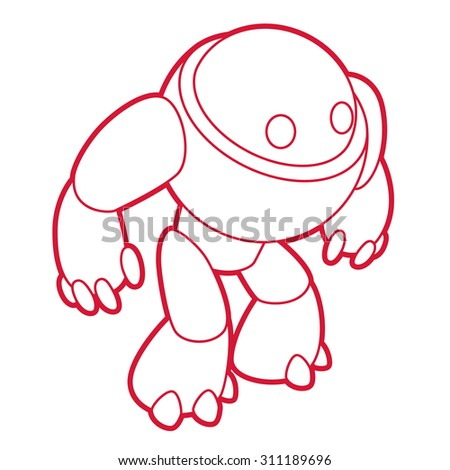 Vector red robot illustration on white background - stock vector
