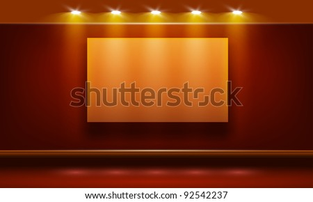 Vector red room illuminated by lamps. Part of room set. Vector art. - stock vector