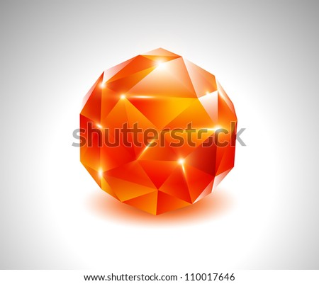 vector red ruby beautiful gemstone - stock vector