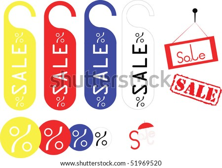 vector red sale stamps and tags - stock vector