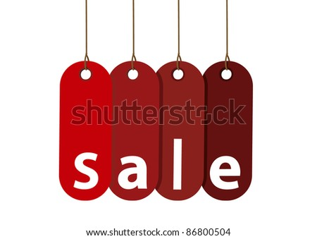 vector Red Sale Tag Isolated on White