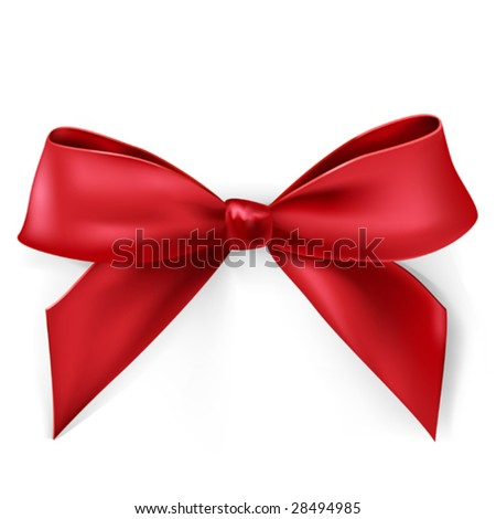 vector red satin bow - stock vector