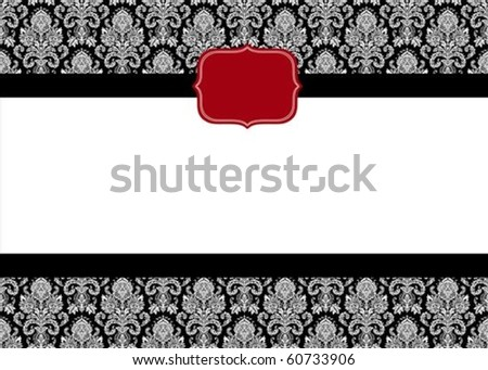 Vector red seal and ornate pattern. Perfect as an invitation or announcement.  Pattern is included as seamless swatch. All pieces are separate. - stock vector
