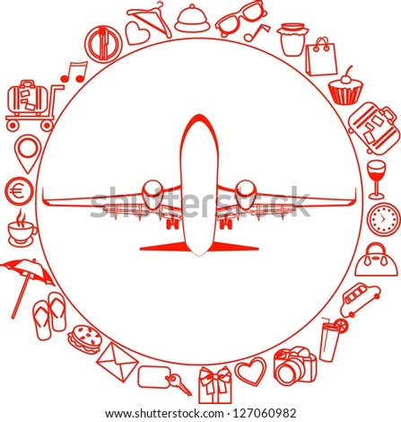 Vector red silhouette of a plane. Elements of travel. Trip icons - stock vector