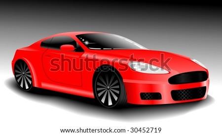 vector red sport car - stock vector